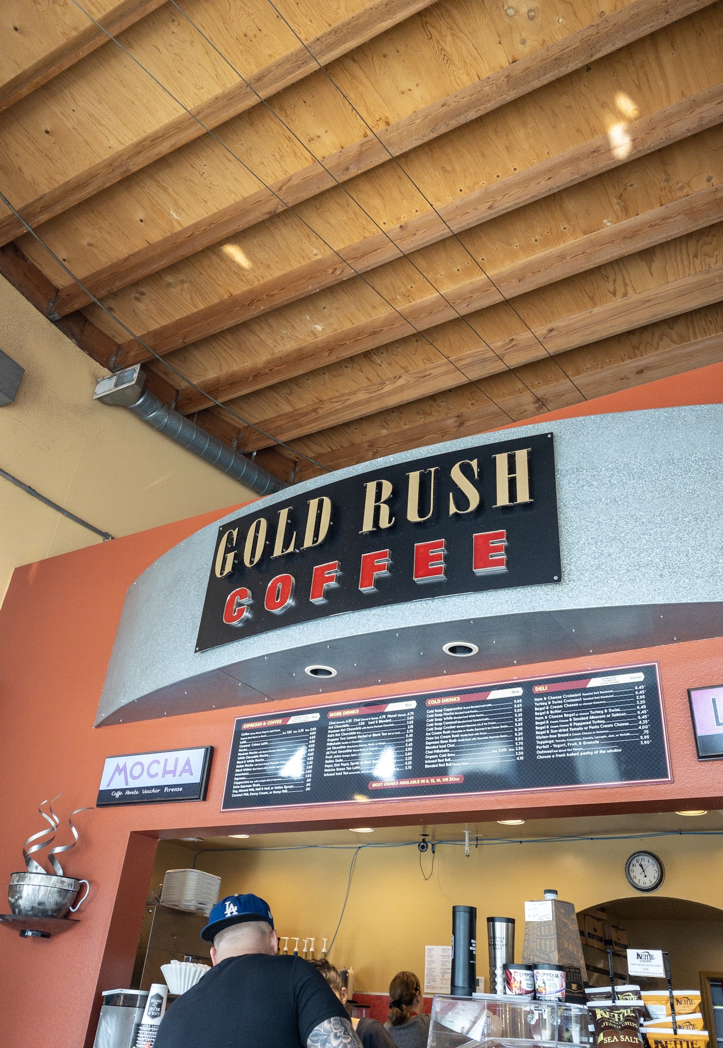 Gold Rush Coffee tall ceilings