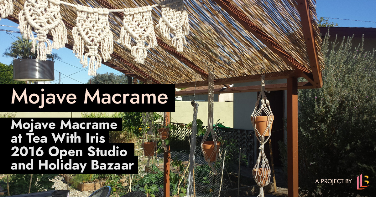 Mojave Macrame garland and hanging planters are hanging from a backyard gazebo