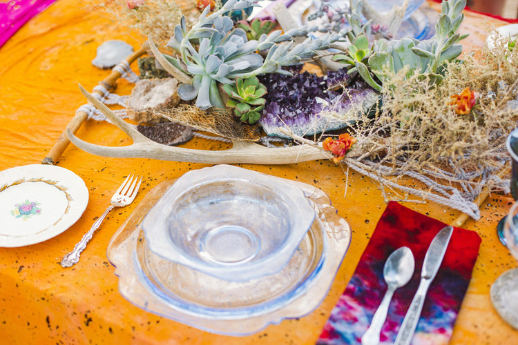 Wedding table setting including a Mojave Macrame table runner