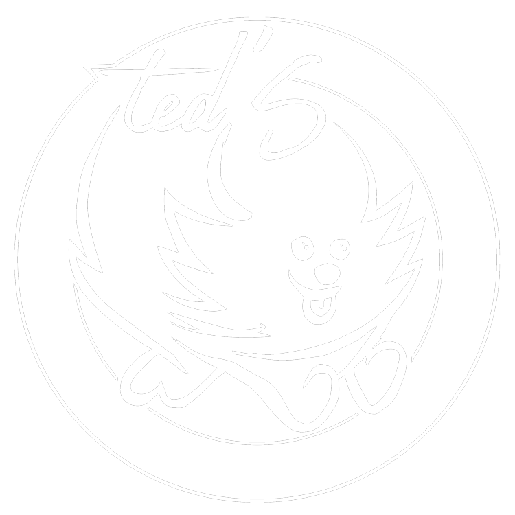 Ted's Grooming Emporium and Pet Supply logo in white without tag