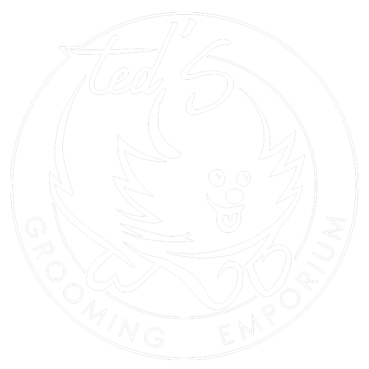 Ted's Grooming Emporium and Pet Supply logo in white